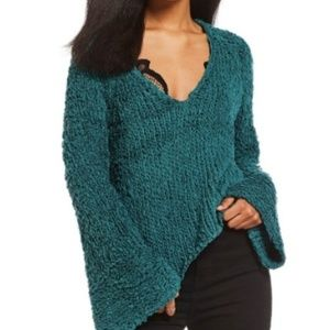 Free People | Green V-neck Sweater